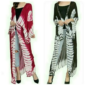 Accessories - Tie Dye Boho Style Long Duster Kimono Wraps